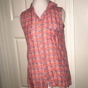 Printed GAP Collared Button Up Tank Top